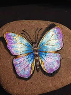 """Hand Painted Signed Rock Stone """"Butterfly"""" by LAN 