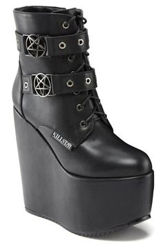 """SABITHA. Fashion Witches United. - Faux Leather.- Pentagram Hardware.- Zip Closure.- 6"""" Platform.- Vegan. Some serious platform must-haves. All-Black booties w"""