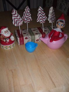 Elf on the Shelf Ideas - He brought some sweet trees for breakfast