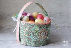 Easy Fabric Easter Basket with eyelets #wermemorykeepers #easter #spring #basket #fabric #diy