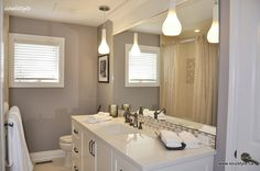 Family Bath Design Renovation-Added a header over the mirror for a nice detail!  Would be easy to do!