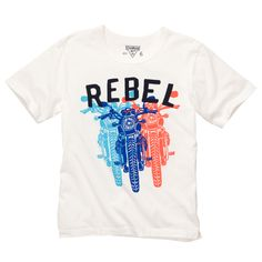 How come I never see shirts telling girls to be a rebel? Being a bit of a rebel can be a good thing! Start by stealing this shirt from the boys department at OshKosh! Sizes 4-12.
