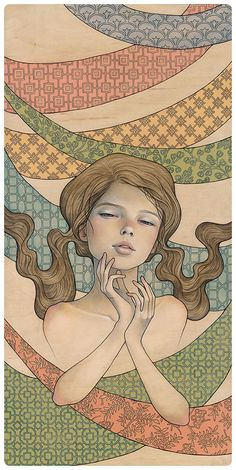 Daydream by Audrey Kawasaki. Oil and graphite on wood.