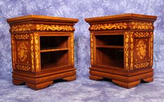 Pair 2 Dutch Baroque Marquetry Side Cabinets Nightstands End Tables Sofa Commode #Baroque