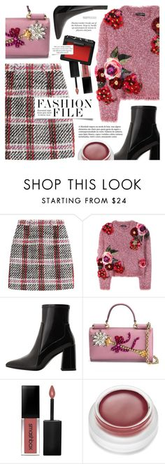 """Untitled #1794"" by noviii ❤ liked on Polyvore featuring Carven, Dolce&Gabbana, MANGO, Smashbox, rms beauty and NARS Cosmetics"