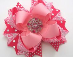 Pretty Princess Pink And White Boutique by JustinesBoutiqueBows
