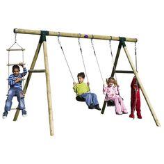Plum Kids Double Swing Set w/ Climbing Rope, Ladder   Buy Outdoor Swings