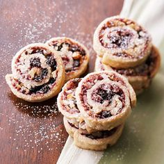 These fruity spirals are dusted with a sprinkling of powdered sugar while warm. Make the cookie recipe up to three days ahead of your next party.