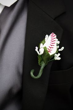 How cute is this baseball buttoneer?  Photography courtesy of Damara Moe Photography.