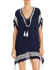 Surf Gypsy Zigzag Trim Tunic Swim Cover-Up Women - Swimsuits & Cover-Ups - Bloomingdale's Swimsuit Cover Ups, Swim Cover, Cruise Wear, Gypsy Style, Zig Zag, Women Swimsuits, World Of Fashion, Navy And White, Surfing
