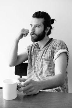 b&w beard fashion t shirt coffee hair style fashion men tumblr