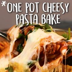 One Pot Cheesy Pasta Bake Cooking Light - Pasta Recipes Video, Baked Pasta Recipes, Pasta Dinner Recipes, Baked Pasta Dishes, Gourmet Recipes, Cooking Recipes, Healthy Recipes, Easy Recipes, Dip Recipes