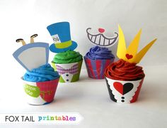 Alice in wonderland printable cupcake wrappers and toppers to decorate your party
