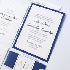 It's wedding weekend for Anne Marie & Jake!  What an amazing couple and these invitations are perfection.  Double layer on sapphire paper.  Add in a monogram belly band and these make me smile.  Congrats Anne Marie & Jake!  Wishing you a lifetime of happiness!