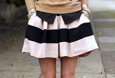 sweater with a striped skirt