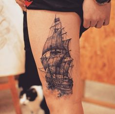 Old ship tattoo by Tattooist Grain