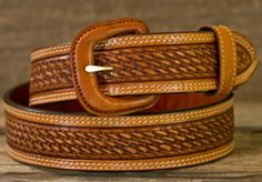 Vogt Silversmiths Russet Hand Tooled Leather Belt