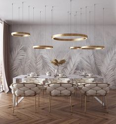 of the day: White + Gold dining room. Love the mesmerizing lighting and color s… of the day: White + Gold dining room. Love the mesmerizing lighting and color scheme! Home Interior Design, Modern Dining Room, Decor, Dining Room Contemporary, Gold Dining Room, Contemporary Dining Room, Gold Dining, Interior, Luxury Dining Room