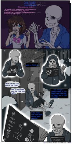 Page 10: Page 12: Aaaand we're back in the current time line! Flashback over! A Note About Dialogue and Text Boxes: I have placed white fuzzy boxes behind Frisk's dialogue here and ther...