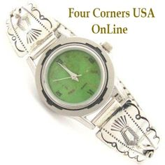 Four Corners USA Online - Women's Stamped Sterling Watch Mohave Green Turquoise Face Native American Silver Jewelry, $109.00 (http://stores.fourcornersusaonline.com/womens-stamped-sterling-watch-mohave-green-turquoise-face-native-american-silver-jewelry/)