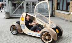 The real wacky racers: Students enter road race with hydrogen-powered 'eco car' made of plywood and cardboard – Car Racing & Car Classic Microcar, Kit Cars, Mini Buggy, Velo Design, E Biker, Cardboard Car, Reverse Trike, Wooden Car, Pedal Cars