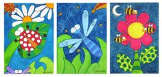 canvas art for kids | Pilyart - Insects Art Canvas Set - Murals For Kids