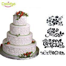 4 unids/set Cake Stencil Flor Y Hoja de Decoración de La Torta Del Molde de…