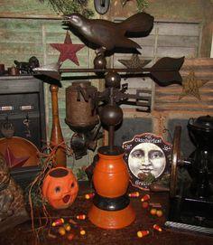 Primitive Antique Vtg Style Halloween Wood Black Bird Tin Crow Weathervane in Antiques, Primitives | eBay