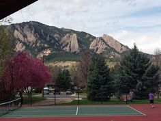 Nice view at the tennis courts in Martin Park.  #BoulderColorado #BoulderCO #Boulder #Colorado #flatirons #mountains #Spring  #tennis #tennis #tenniscourt #tenniscourts