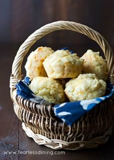 Another picture of the gluten free cheddar herb muffins in the wicker basket