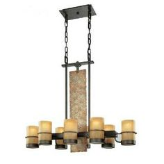 Check out the Troy Lighting F1848BB Bamboo 8 Light Island Light in Bamboo Bronze with Natural Slate  priced at $1,276.00 at Homeclick.com.