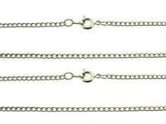 2 CHAINS 1 YELLOW  & 1 WHITE GOLD PLATED NEW US CURB CHAINS 18 inches BOXED