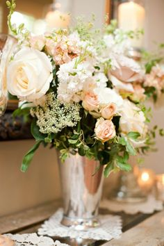 Stock, roses, and queen anne's lace