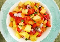 Tropical Fruit Salsa with Jalapeno and Bell Peppers from our newsletter -- goes great with turkey burgers! You can serve it with chicken breast, pork tenderloin, or fish, too.