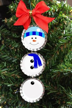 Snowman in Blue Christmas Tree Ornament Bottle Cap Holiday Decoration