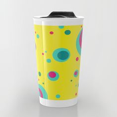 #mug #travelmug #yellow #bubbles #dots #colorful