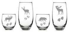 Wildlife Glass Set of 8 Moose Bear Elk Deer by WulfCreekDesigns, $99.99