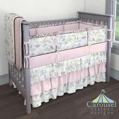 Crib bedding in Nursery Rhyme Toile, Solid Pink, Baby Pink Chenille. Created using the Nursery Designer® by Carousel Designs where you mix and match from hundreds of fabrics to create your own unique baby bedding. #carouseldesigns