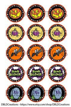 INSTANT DOWNLOAD Halloween Bottle Cap Images. by DBLDCreations, $1.50