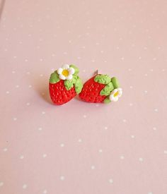 This is a cute pair of earrings created from polymer clay without molds or forms. A delicious pair of strawberry stud earrings. Yummm! The lenght of each earring is 1.2 cm. ❀ Because i make everything by hand, the item you receive may differ slightly than shown on the pictures. ❀ Price is