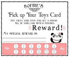 diy printable PICK up  YOUR TOYS punch card by TheHootieCooCardCo, $6.00