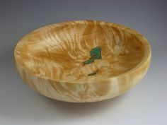 Wooden Bowl  Poplar wood Bowl with Turquoise and by TurningTime, $90.00