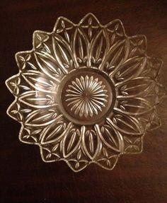Beautiful Vintage Decorative Round Glass Dish