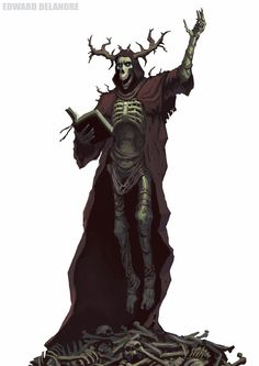 Necromancer by Edward Delandre Medieval Fantasy, Dark Fantasy, Fantasy Art, Fantasy Monster, Monster Art, Terra Nova, Science Fiction, Bloodborne Art, Dnd Monsters