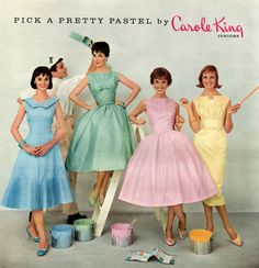 Carole King Juniors 1958 pastels dress day party full skirt sheath yellow green blue pink late era classic day aesthetic my vintage vogue Vintage Vogue, Look Vintage, Vintage Girls, 70s Mode, Retro Mode, Fifties Fashion, Retro Fashion, Vintage Fashion, 1950s Fashion Dresses