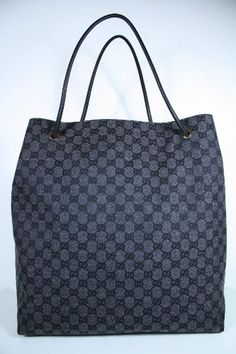 7782847c6b8c Gucci Handbags Large Black Gray Fabric and Leather « Clothing Impulse Gucci  Bags
