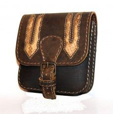 Kígyóbőr betétes bőr övtáska, egyfakkos, csatos, kisebb - leather belt bag Leather Belt Bag, Saddle Bags