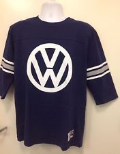 Augusta Sportswear Vintage football jersey in navy blue with Volkswagen logo on front and 1949 logo on back.