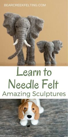 Teresa Perleberg's Needle Felting Academy Needle felt cute realistic animal sculptures out of wool. Learn new techniques in the Bear Creek Needle Felting Academy. Video tutorials and personal instruction will help you make your own amazing sculptures. Wool Needle Felting, Needle Felting Tutorials, Needle Felted Animals, Nuno Felting, Felt Animals, Felted Wool, Crochet Animals, Crochet Toys, Felt Diy