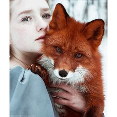 Fairytale Portraits Of Redheads With A Red Fox By Uzbek Photographer ❤ liked on Polyvore featuring animals, backgrounds and art
